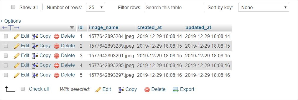 Inserted Image Name in the Database