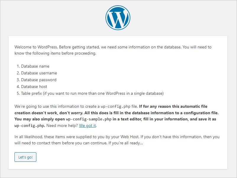 Database configuration wizard in the WordPress