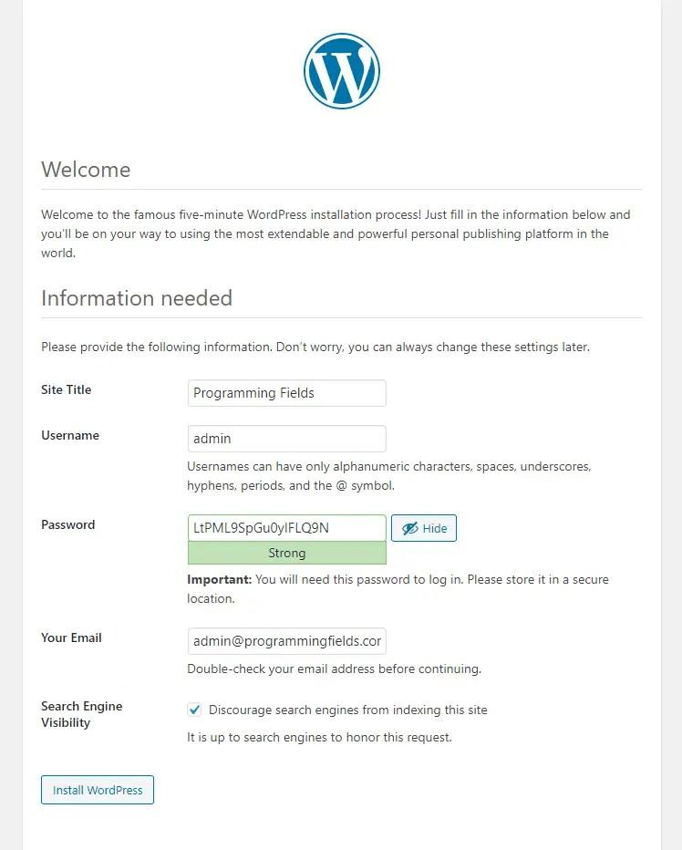Add Site Information in WordPress