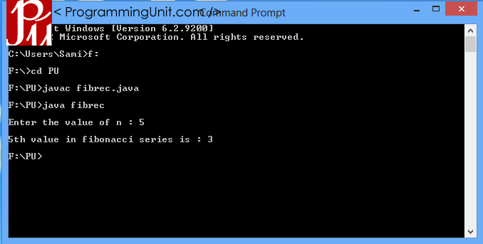 Java Program to find nth fibonacci number using recursion