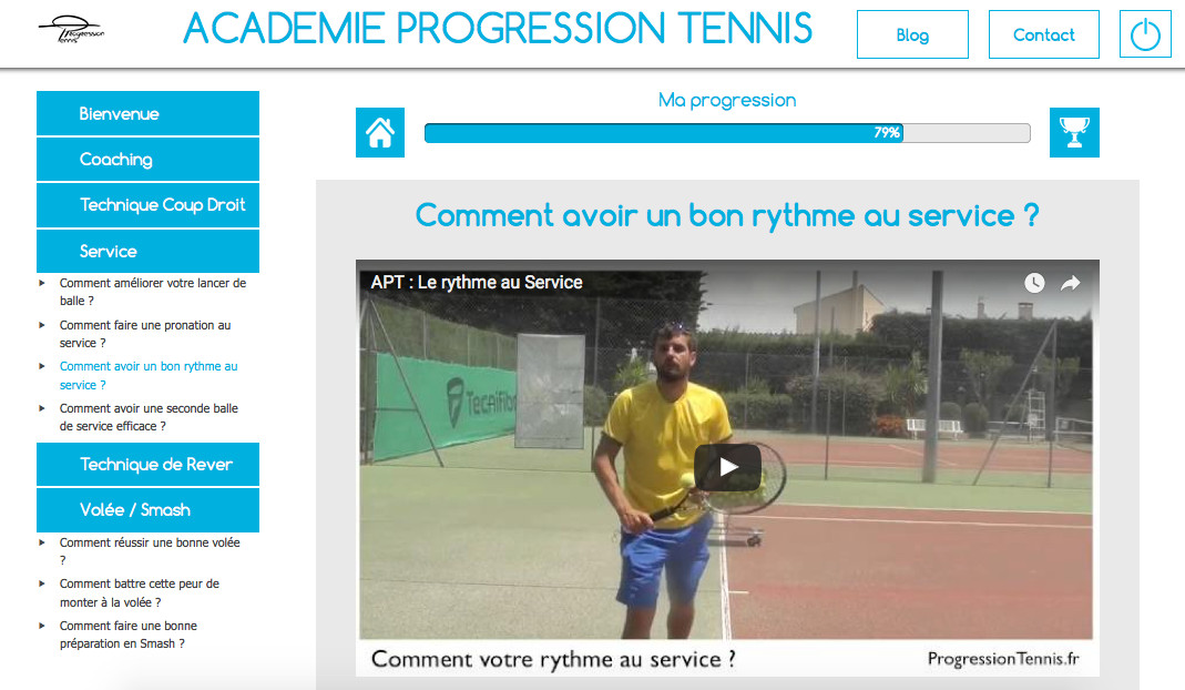 Académie Progression Tennis Exemple