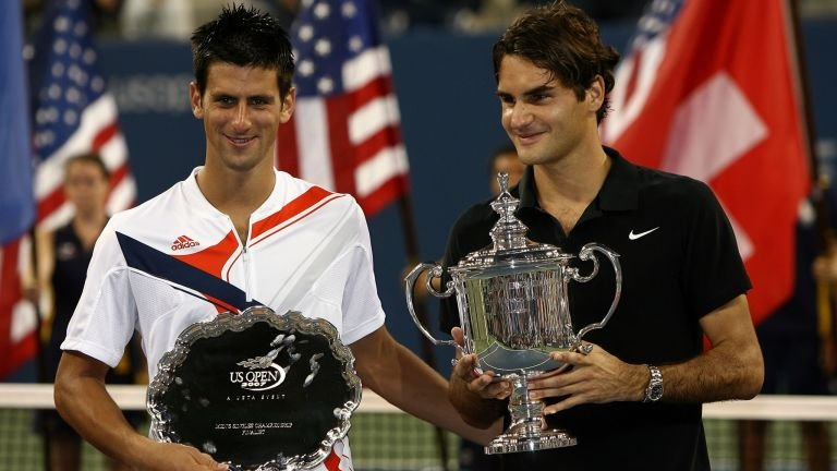 En 2007 à l'US Open, Federer bat Novak Djokovic 7/6 7/6 6/4