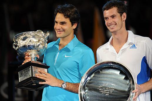 En 2010 à l'Open d'Australie, Federer bat Andy Murray 6/3 6/4 7/6