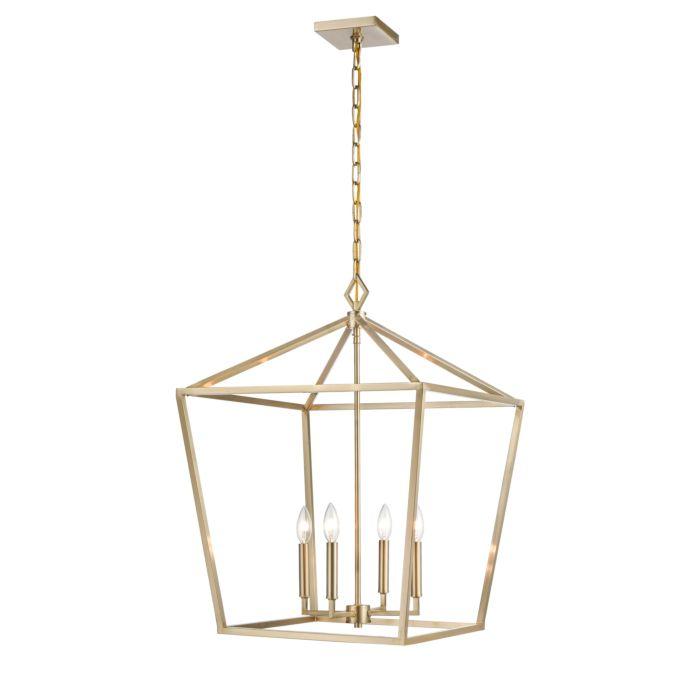 4 light pendant light in modern gold