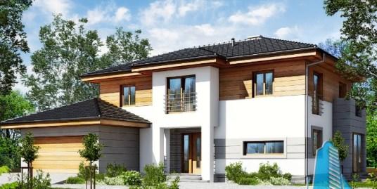 Proiect de casa cu 2 etaje, garaj si terasa de vara