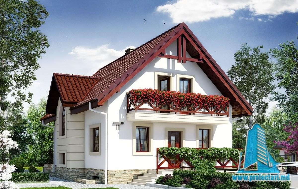Proiect de casa cu demisol,parter si mansarda si garaj subteran