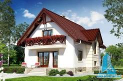 Proiect de casa cu mansarda joasa si garaj pentru o masina