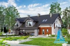 proiect de casa duplex cu mansarda si garaj pentru o masina