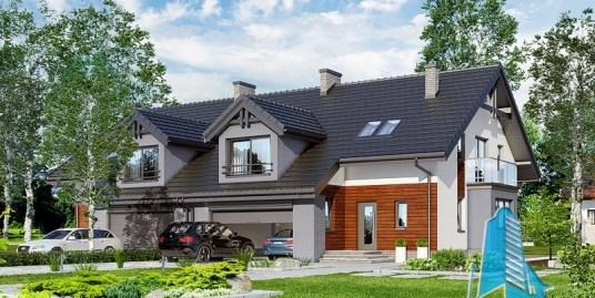 Proiect de casa duplex cu mansarda si garaj pentru doua automobile-100560