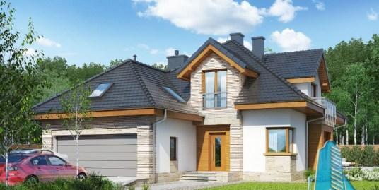 Proiect de Casa cu parter, mansarda si garaj pentru doua automobile – 100709