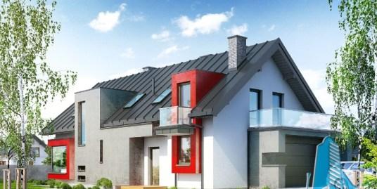 Proiect de casa cu parter, mansarda si garaj pentru doua automobile-100641