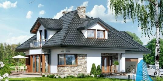 Proiect de casa cu parter, mansarda si garaj pentru un automobil-100643