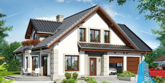 Proiect de casa cu parter, mansarda si garaj pentru doua automobile-100625