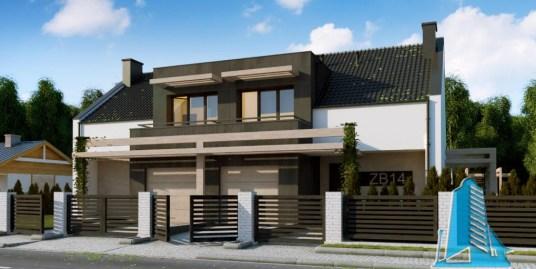Proiect de casa duplex cu parter, etaj si garaj pentru doua automobile -100775