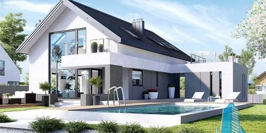 Proiect de casa cuparter, mansarda,garaj si terasa de vara-100802