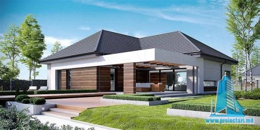 Proiect de casa cu parter mansarda si garaj pentru doua automobile-100790
