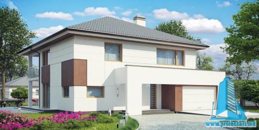 Proiect de casa cu parter, etaj si garaj pentru doua automobile-100860
