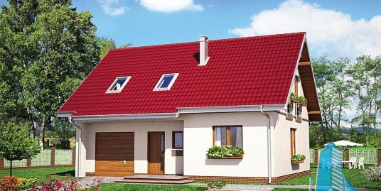 Proiect de casa ieftina cu mansarda si garaj pentru un automobil-100833