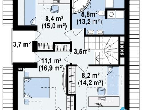 Proiect de casa cu parter, mansarda m