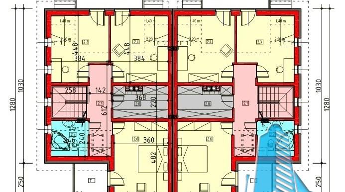proiect de casa duplex cu parter mansarda si garaj pentru doua automobile cu terasa de vara plan parter
