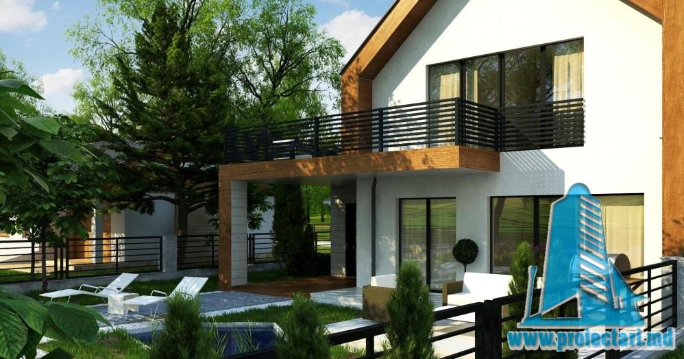 Proiect de casa cu parter, mansarda, garaj si terasa de vara frumos amenajata - 100947