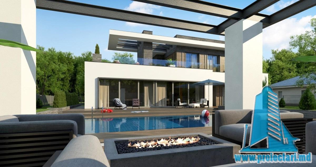 Proiect de casa cu parter si acoperis plat cu terasa frumos amenajata si garaj pentru un automobil - 100969
