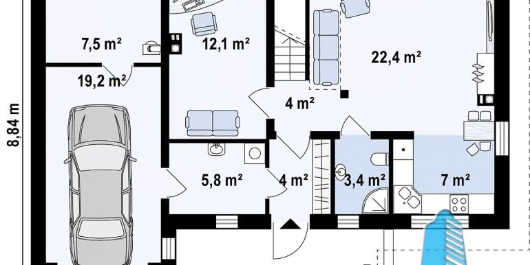план партер проекта жилого дома с мансардой 180м2 с гаражом для одного автомобиля