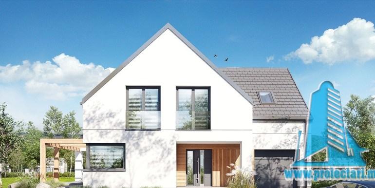 design fatada din tinc proiect de casa cu mansarda 180m2, cu terasa mare, garaj si zona de odihna cu barbeque