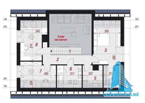 plan mansarda pentru proiect de casa cu acoperis din tigla 160m2 cu garaj pentru un automobil