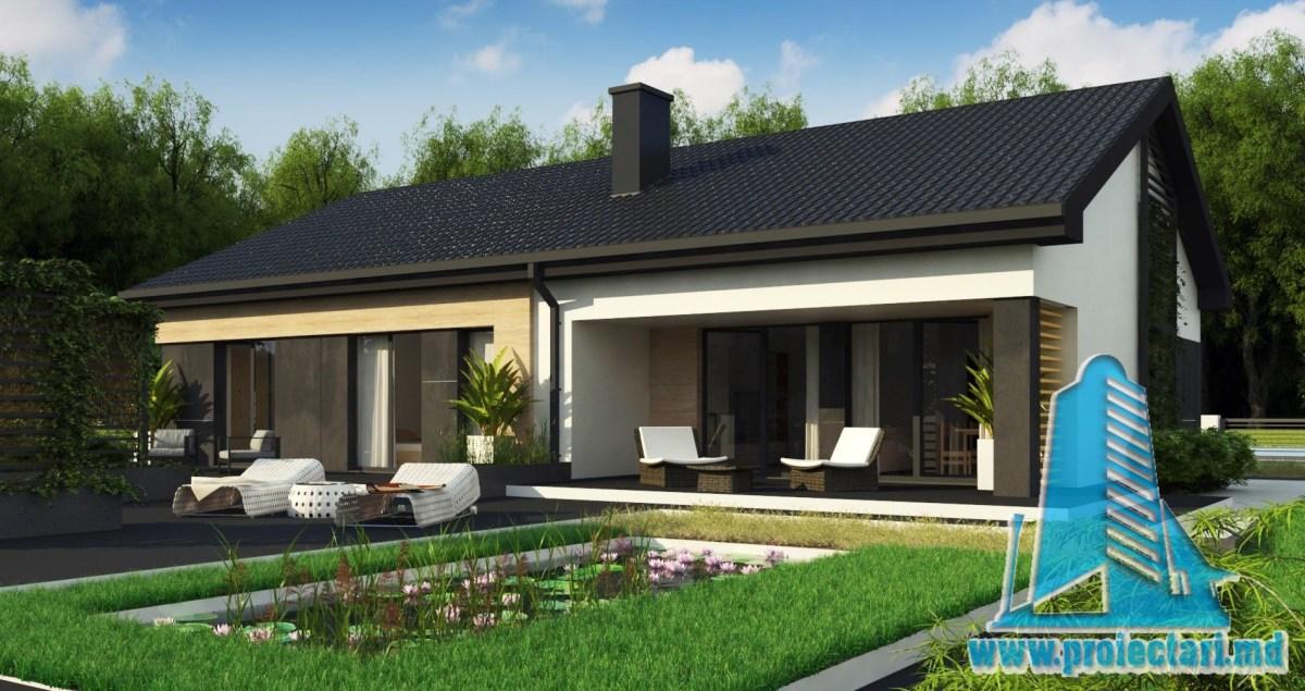 Proiect de casa de tip Duplex de 160m2 cu parter si acoperis din tigla ceramica - 100975