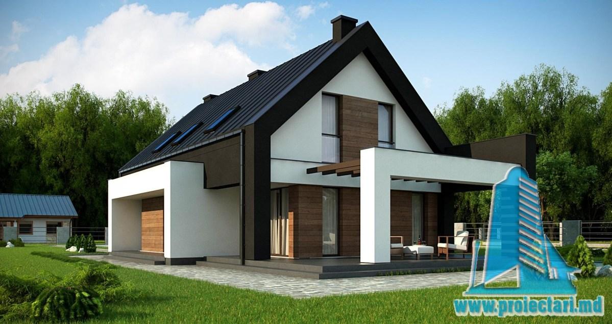 Proiect de casa cu parter si mansarda - 220m2 cu terasa de vara si garaj pentru doua automobile din caramida brickstone- 100985