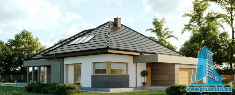 Proiect de casa cu parter si mansarda, acoperis din tigla ceramica si garaj pentru doua automobile-360m2- 100993