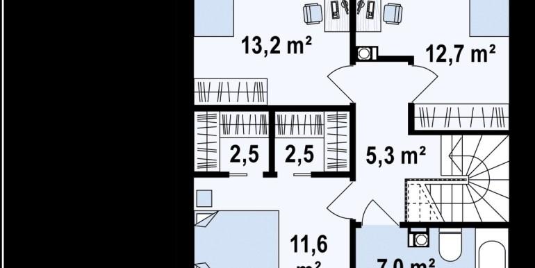 etaj Proiect de casa cu doua etaje si terasa de vara