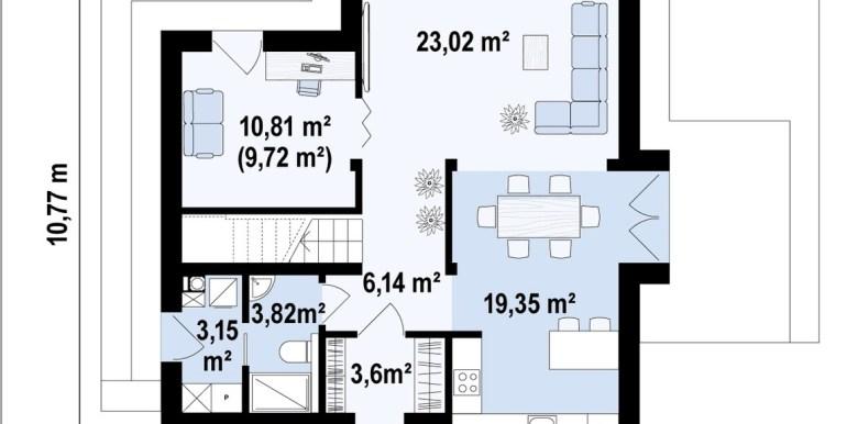 parter Proiect de casa cu doua etaje cu acoperis plat si garaj pentru un automobil