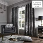 C Lansfield Crushed Velvet Eyelet Curtains Silver 90x90 Pro Install