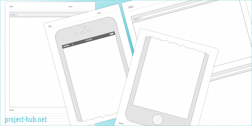 Wireframe Templates   browser  iPhone and iPad responsive wireframes