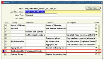 Employee Self Service Menu Screen