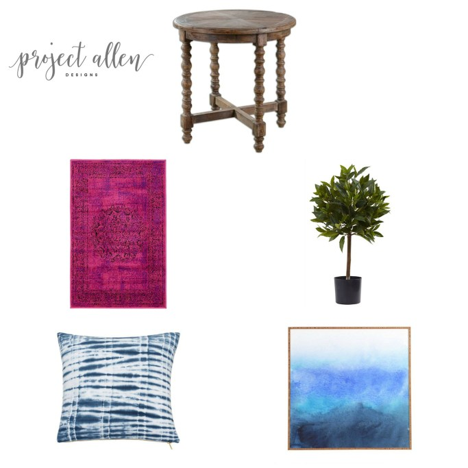 homr decor, home decor ideas, pink rug, bay leaf tree,shibori pillow