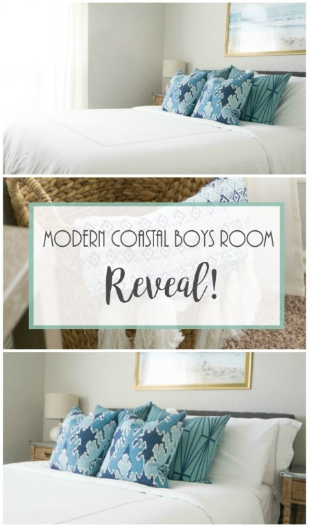 Modern Coastal Boys Room Reveal, Modern Coastal Decor, Gold Framed Beach Print, White Curtains, Kelly wearstler pillows, Homegoods.