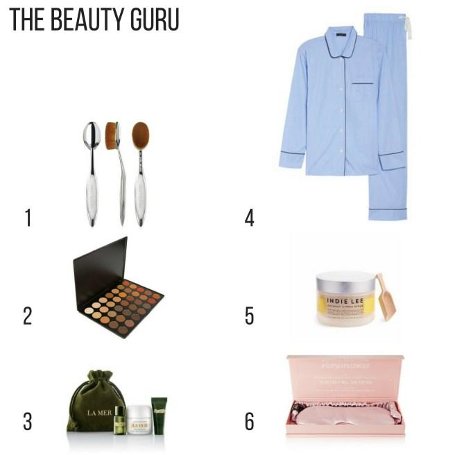 Holiday Gift Guide. Beauty Guru, Gift Ideas ,makeup brushes, blue pajamas, eyeshadow palette, skincare cream, sleep mask, bath scrub
