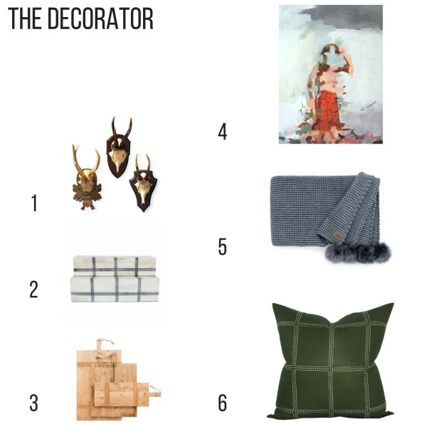Holiday Gift Guide For the Decorator. trophy antler mounts. wide grid box, reclaimed bread boards, the divide print, snow creek blue throw blanket, postage stamp olive pillow cover,