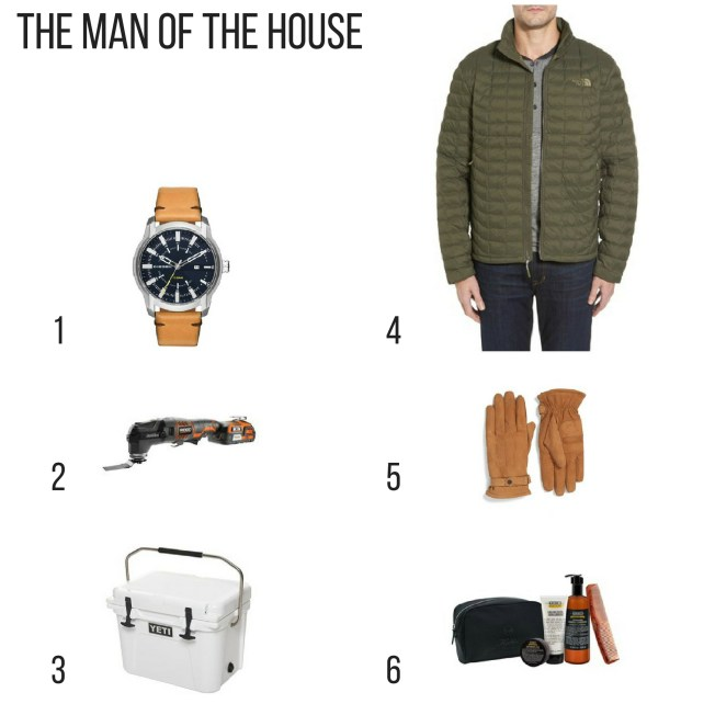 Holiday Gift Guide. leather strap watch, Rigid Jobmax, yeti cooler, north face thermoball. leather gloves, grooming kit,