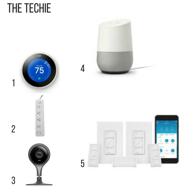 Holiday gift guide for the techie, nest thermostat, smart power strip, nest cam, google home, smart light kit,