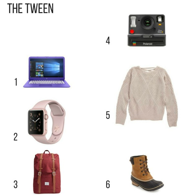 Holiday gift Guide for the tween, Hp laptop, apple watch, hersel backpack, Polaroid, sweater, waterproof boots,