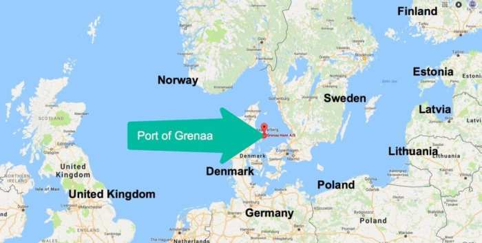 Map of Grenaa Port