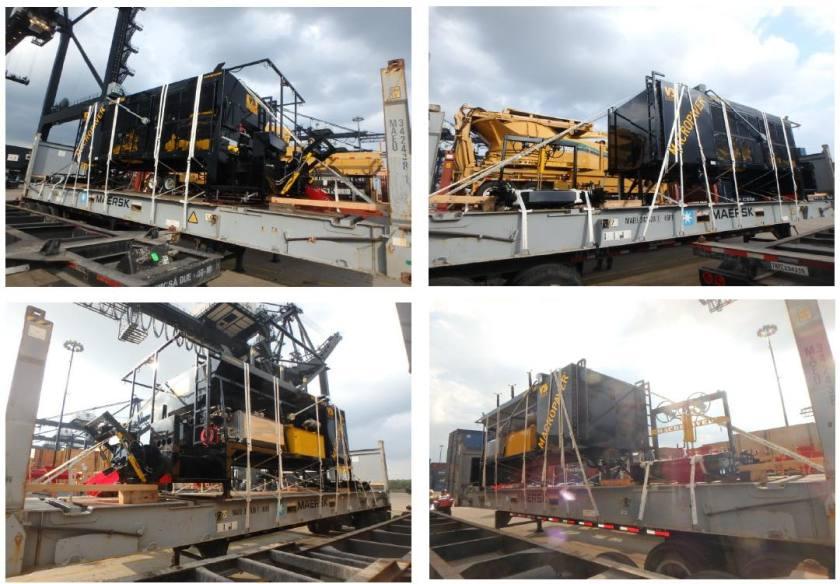 Paving Machines on Flat Racks - AEL