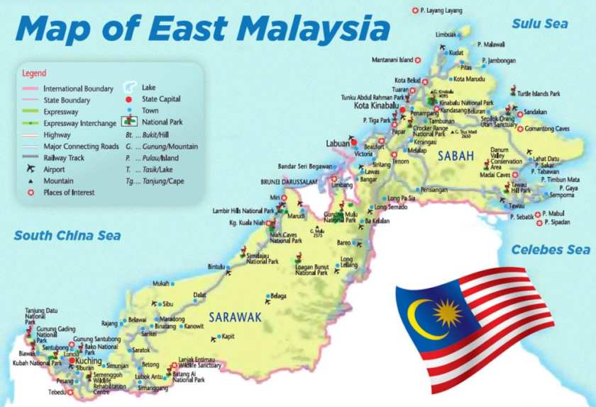 map of east malaysia