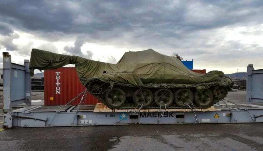 Military Tank loaded on a flat rack
