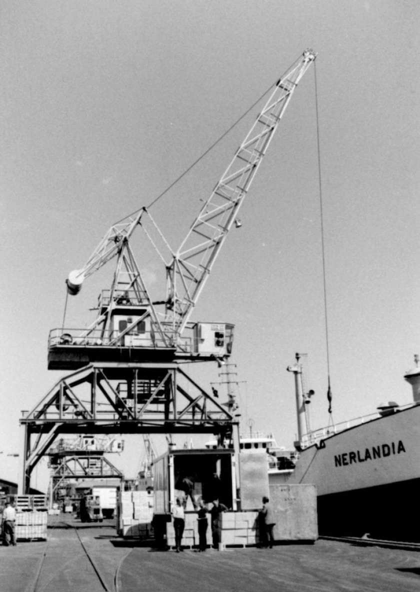 mv Nerlandia in the port of Aarhus 1967 - first picture is showing the 'reefercontaiers' 1