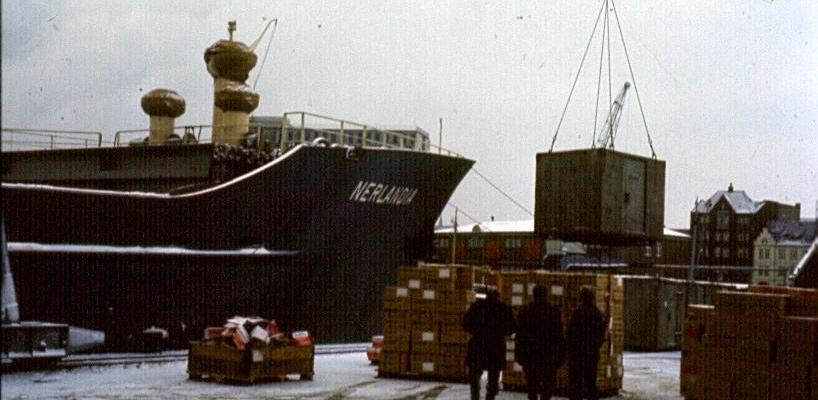mv Nerlandia in the port of Aarhus 1967 - first picture is showing the 'reefercontaiers'